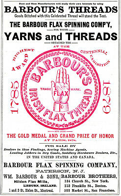1879 Barbour Flax Spinning Co, Paterson, New Jersey Sewing Thread Color Ad