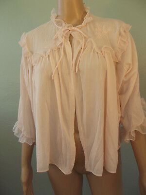 "Vintage~1950s/1960s~ROGERS~ Pink Nylon, Ruffled Boudoir Jacket~42""Bust 21""Long"