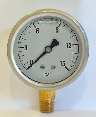 ** New in box Hydraulic Liquid Filled Pressure Gauge 0-15 PSI