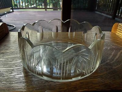 19th century Crystal Glass BOWL hand cut scallop rim thumbprints grapes european