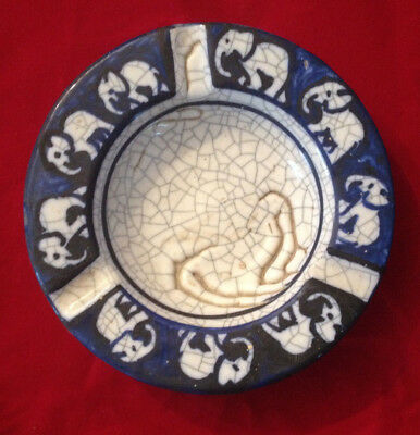 Rare Antique Early 20Th C Dedham Pottery Elephant Ashtray