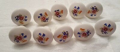 Vintage Drawer Cabinet Knobs  Beautiful Set of 10 Porcelain with Flowers