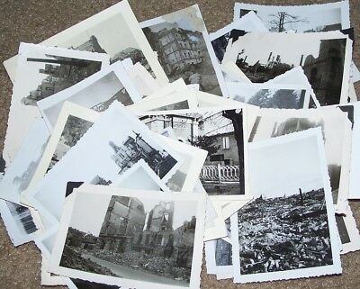 LOT OF 79 ORIGINAL WW2 PHOTOS: WAR DESTRUCTION IN FRANCE & GERMANY, c.1945