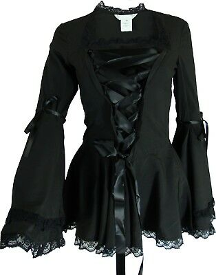 18 22 24 26 28 Plus - NEW Steampunk Victorian Bell Sleeve Corset Blouse Top