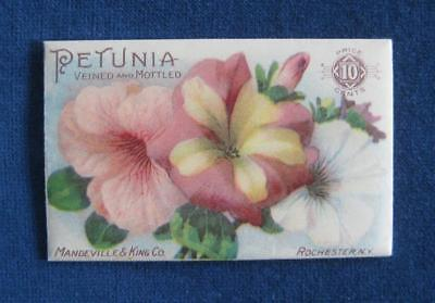 Late 1890's Antique MANDEVILLE & KING Co. Seed Pack Packet: PETUNIA Litho