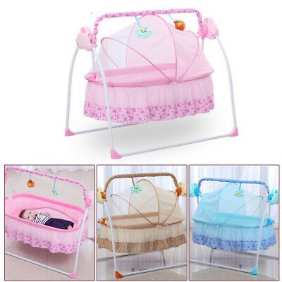 Electric Big Auto-Swing Bed Baby Cradle Space Safe Crib Infant Rocker Cot + Mat