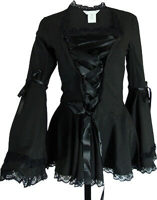 XS SM MD LG XL XXL -  NEW Black Steampunk Victorian Bell Sleeve Corset Blouse