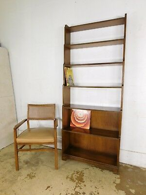 Vintage 1970s Walnut High-End Tall Open Graduated Curio Room Divider Bookcase
