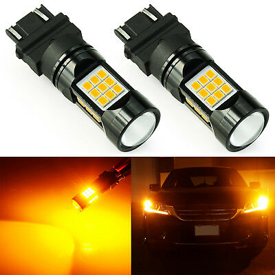 JDM ASTAR 2x 3157 27-SMD Amber Yellow LED Turn Signal Light Bulbs For Ford F-150