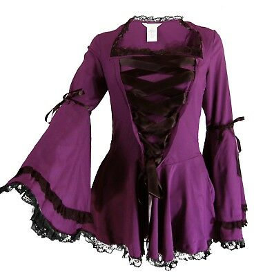 18 20 24 26 28 Plus Red NEW Pearl Victorian Gothic Steampunk Long Blouse Top