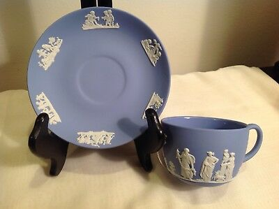 Wedgwood Blue Jasperware Tea / Coffee Cup & Saucer Set