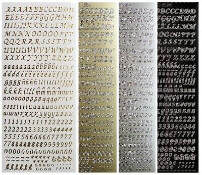 6mm SCRIPT LETTERS & NUMBERS Peel Off Stickers Combo Card Making Gold or Silver