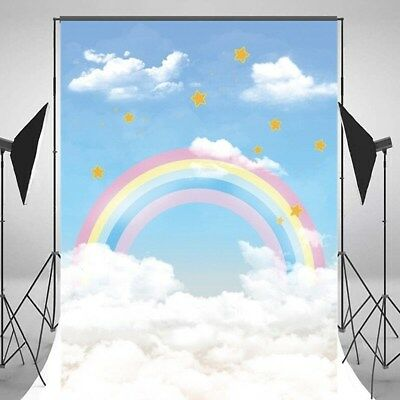 5x7FT Rainbow Clouds Stars Background Vinyl Studio Baby Photography Backdrops