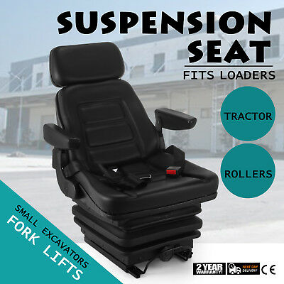 Suspension Seat With Belt Tractor Forklift Excavator PVC Ccomfirtable Up to 115°