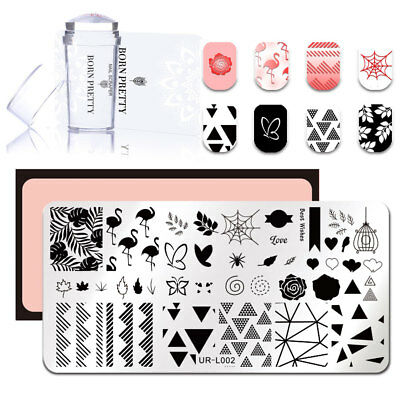Nail Stamping Plate with Clear Jelly Stamper Set Tropical Plants Template Tools