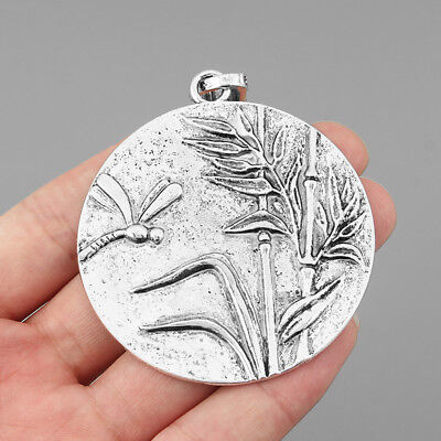 2Pcs Antique Silver Large Round Alloy Bamboo & Dragonfly Charms Pendants