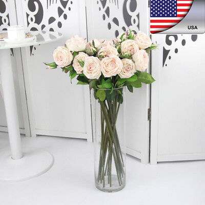Real Touch Artificial Rose Silk Flower Leaf Bouquet Home Floral Wedding Decor US