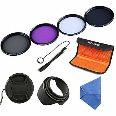 K&F Concept 55mm UV CPL FLD ND4 Filter Kit Pouch Lens Hood Cap for Canon Nikon
