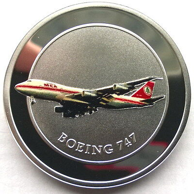 Lebanon 2015 Boeing-747 5 Livres Gold Plated Silver Coin,Proof