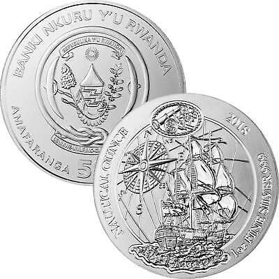 50 Francs Ruanda 2018 - 1 Unze Silber BU - Nautical Ounce: Endeavour