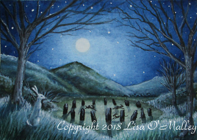 """ACEO, Print, Hare """"Frost Moon"""" 1/20"""