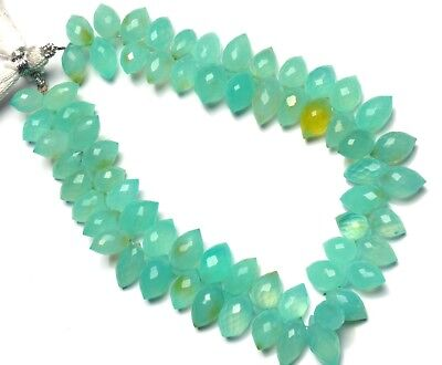 """Natural Gem Green Chalcedony Faceted Dewdrop Shape Briolette Beads 8.5"""" Strand"""