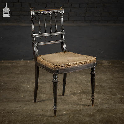 Elegant 18th C Ebonised Dining Chair with Ornate Turnings for Re-Upholstery
