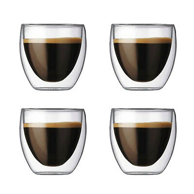 2/4/6 pcs X 80 ML double paroi tasse de café en verre tasses isolent tasse de th