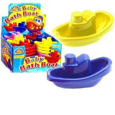 Wholesale Job Lot Party Bags Stacking Plastic Baby Bath Boats - blue yellow pink