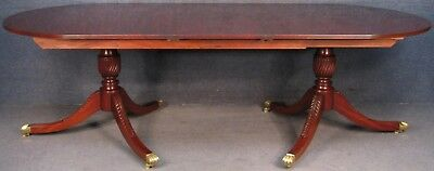 Regency Style Solid Mahogany Single Leaf Twin Pedestal Extending Dining Table