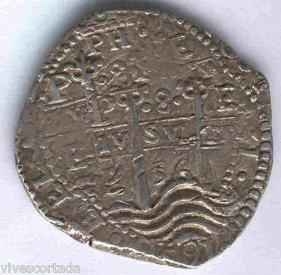 Felipe IV 8 Reales macuquino Potosi 1656 E @@ Excellent @ double coinage @