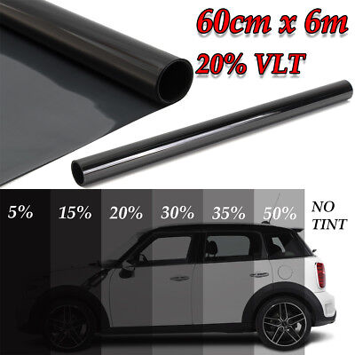 60cm x 6m 20% VLT Black Car Home Glass Window Tint Tinting Film Vinyl Roll 2 PLY