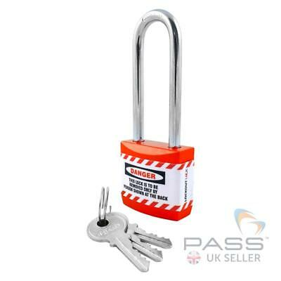 Lockout Tagout Jacket Padlock with Long Shackle - Key Different (Red)