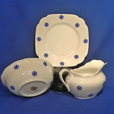 Grays Pottery Blue Snowflake Tea Plate, Milk Jug, Sugar Bowl - Vintage 1950s VGC