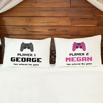 Personalised Pillowcase Cushion Cover PAIR of PlayStation Nintendo Xbox Gift