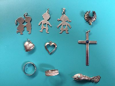 8 Charms  & 2 Rings - Assorted Designs-Silver And Silver Plate
