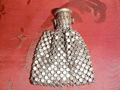 Vintage Sterling Silver Mesh Purse. 1960. Spain. Extended Top