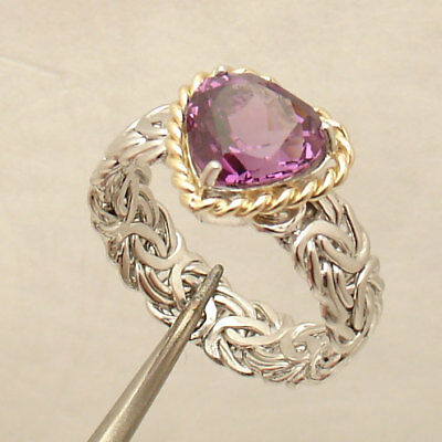 Size 8 Natural Amethyst Heart Gemstone Byzantine Ring 14K Yellow Gold Silver