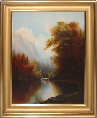 WILLIAM HART-Hudson River School-Two Original Signed Oils -Autumn Lake/Mountains