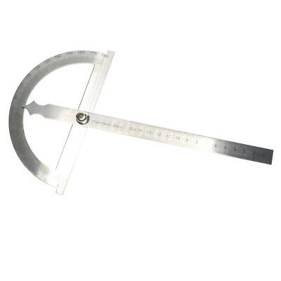 0-180 Degree Protractor Arm Stainless Steel 15cm Ruler Angle Finder Gauge