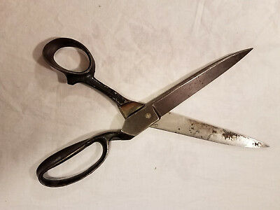 Antique 12 Inch Iron Tailor Fabric Clothing Shears Scissors by R. Heinisch USA