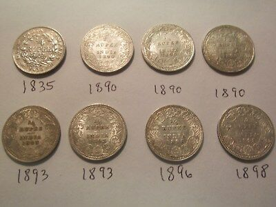 1835-1898 British India 1/4 Rupee Silver Coins 8 Coin Lot all AU Condition