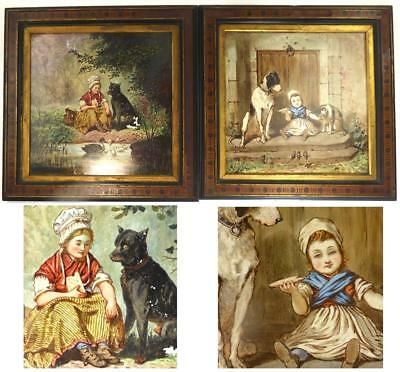 Pair Antique Framed Ceramic Plaques Hand Painted Children Dog Signed Drury-Lowe