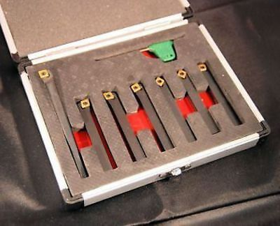 Set of 7 SCT Indexable Carbide Lathe Tools 8 mm Shank (Ref: 888203)