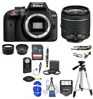 Nikon D3400 DSLR Camera + AF-P 18-55mm  32GB +  Value Bundle