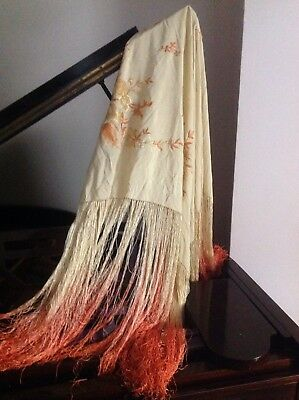 """Antique silk canton c 80"""" Piano shawl with ombre  tassles"""