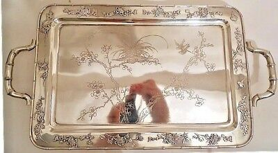 A Chinese silver tray, chrysanthemums and birds, Zeewo, Shangha c.1900