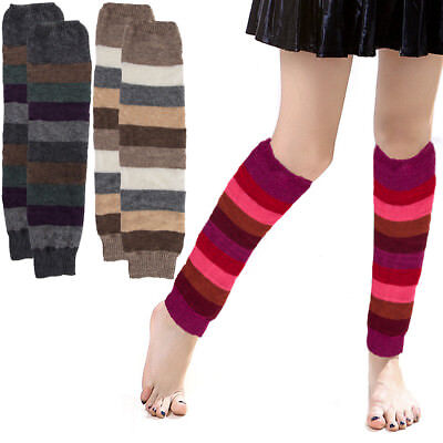 Women Colorful Striped Winter Leg Warmers Soft Thermal Thick Ladies Legging Wool