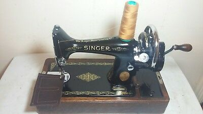Heavy Duty Singer 99K Manual/ Hand crank Sewing Machine, sews Leather, Serviced