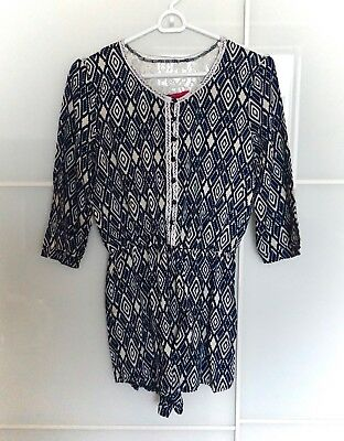 Boohoo navy blue white long sleeved lace detail playsuit romper summer patterned